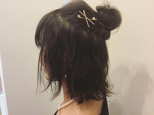 お友達の結婚式ということでヘアアレンジシンプルなのが逆に可愛い#ABILITY#美容室#埼玉#簡単ヘアアレンジ#ボブ#結婚式#可愛い